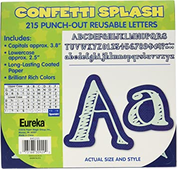 Amazon.com: Eureka Confetti Splash Punch Out Blue Letter and Number  Classroom Decoration, 215pc, 3.8'' H: Office Products