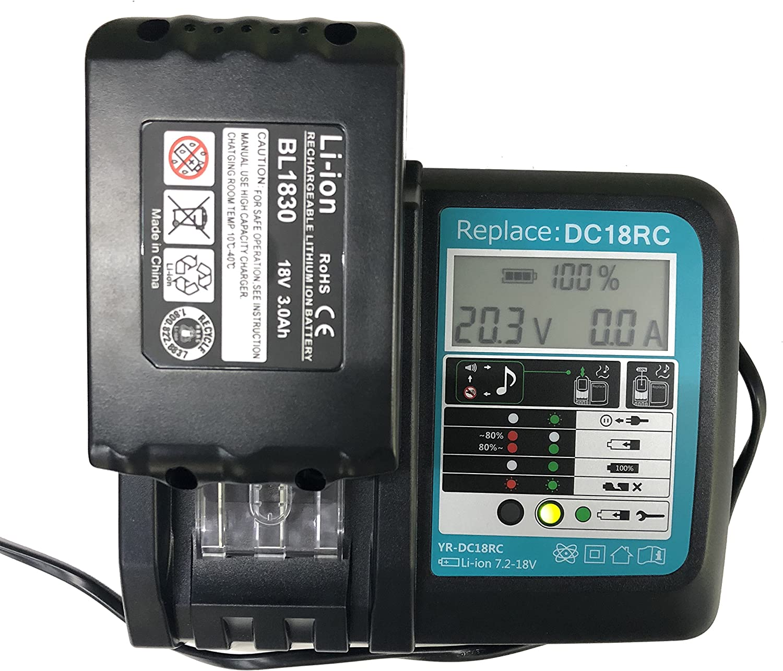 DC18RA Chargeur avec /écran LCD 3 A 14,4 V 18 V 3 Ah Batterie lithium-ion 18 V 3 Ah SHS Remplace Makita DC18RC