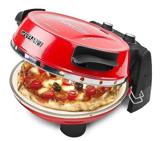 g3ferrari g10032 four compact lectrique avec deux pierres refractables pour pizza rouge - Cuisson Pizza Maison Four Electrique