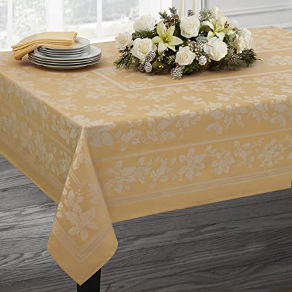 Christmas Tablecloths.Benson Mills Holiday Elegance Engineered Jacquard Christmas Tablecloths Gold 60 X 120 Rectangular