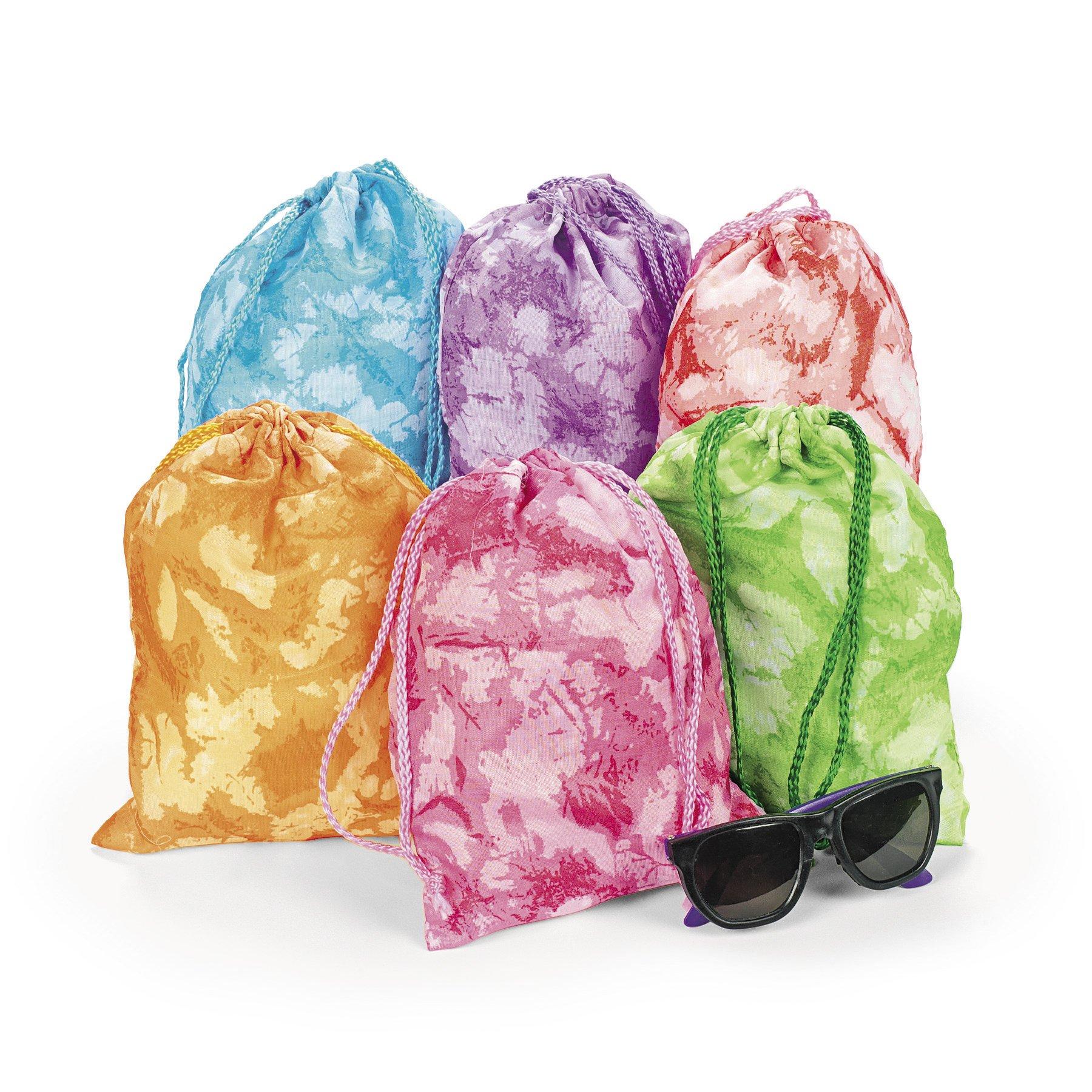Fun Express 12 Tie-Dyed Drawstring Tote Bags