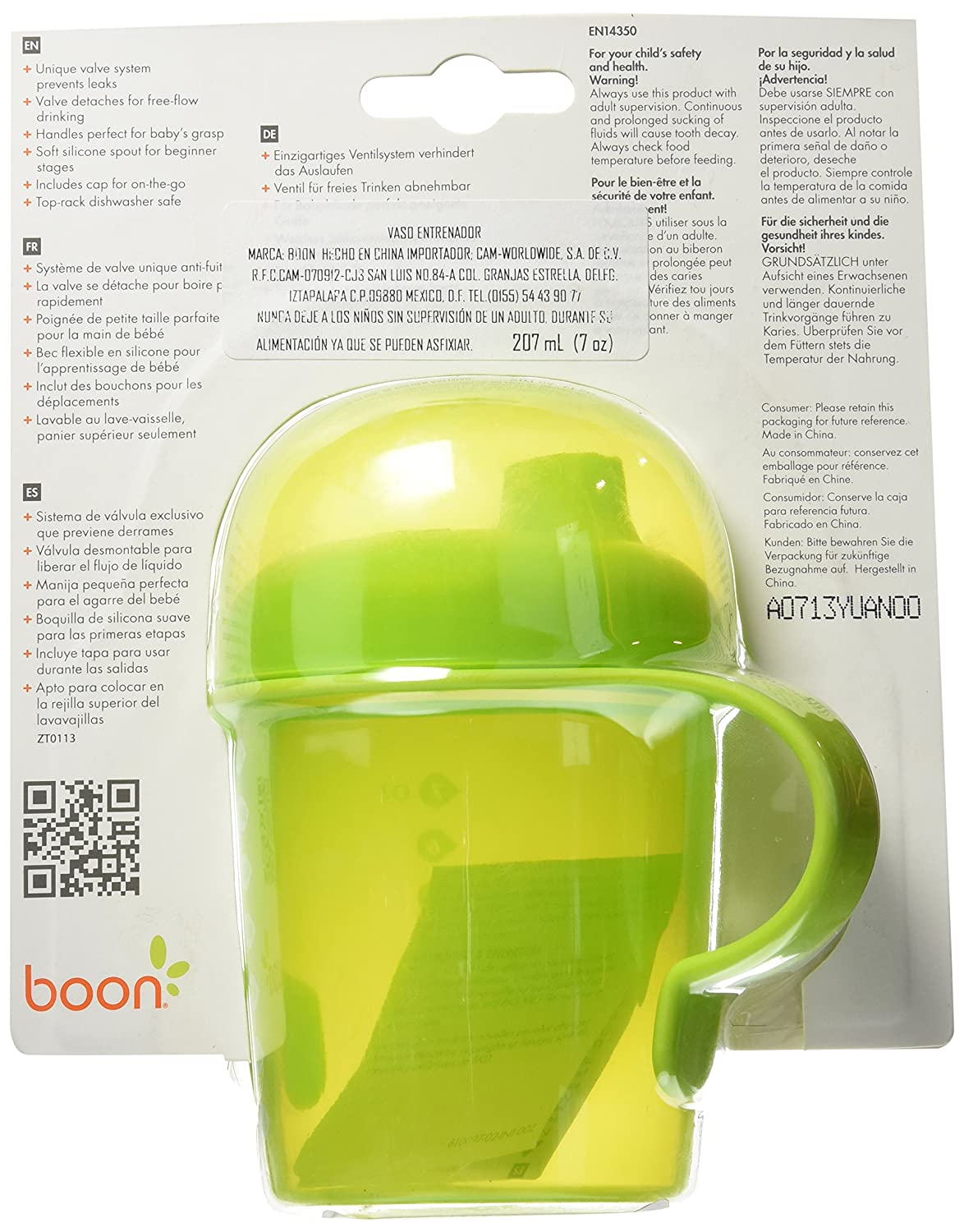 Boon Sip Short Firm Spout Sippy Cup, Green, 7 Ounce