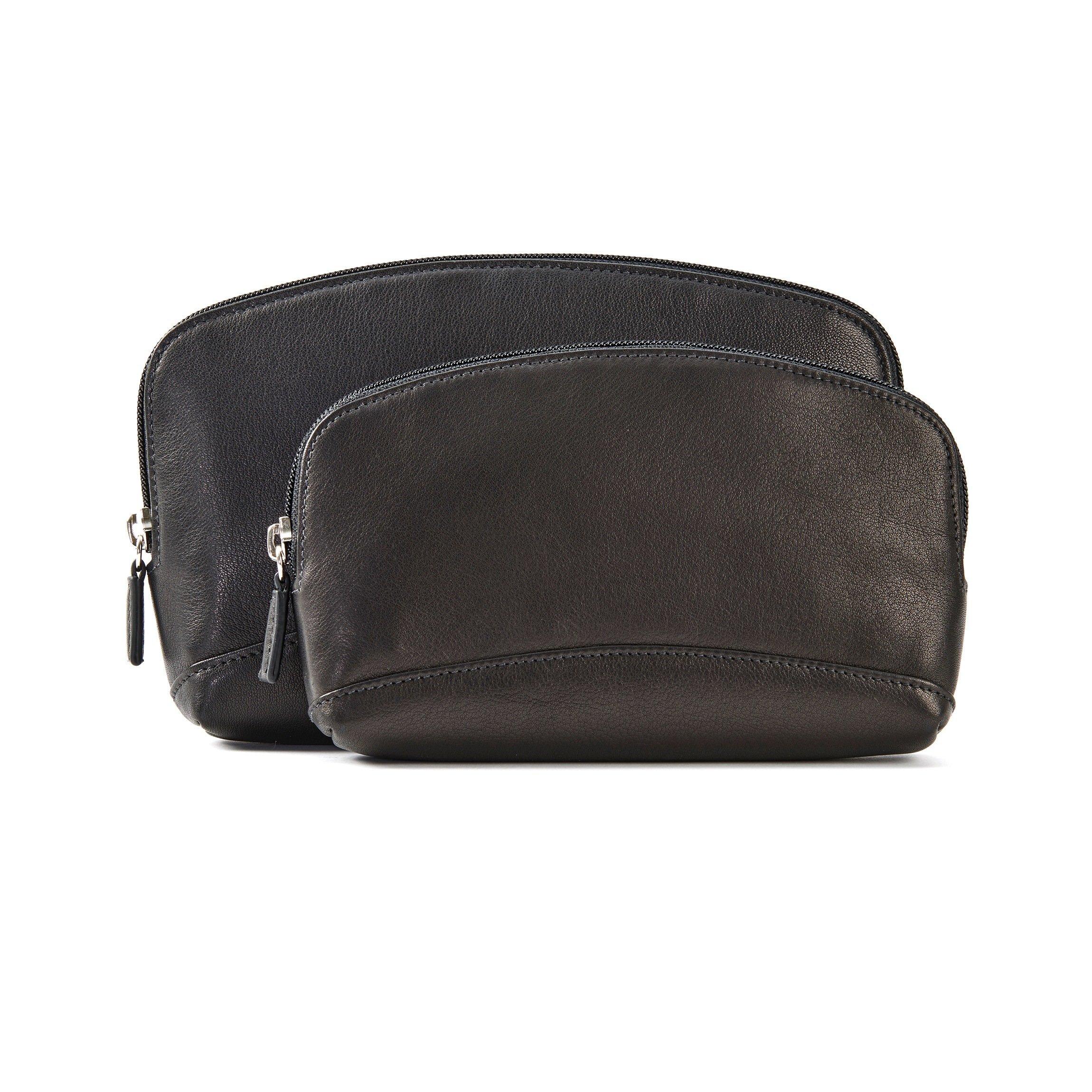 Cosmetic Bag Set - Full Grain Leather - Black Onyx (black)