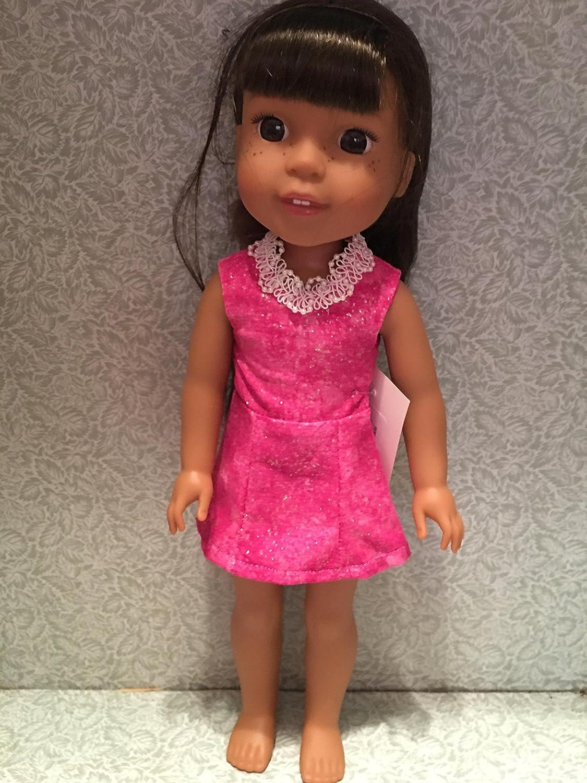 Wellie Wisher Holiday Dress in Hot Pink glittery fabric Handmade