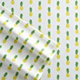 Poppy & Fritz 220843 Pineapples Cotton Sheet Set,Yellow/Green,Twin