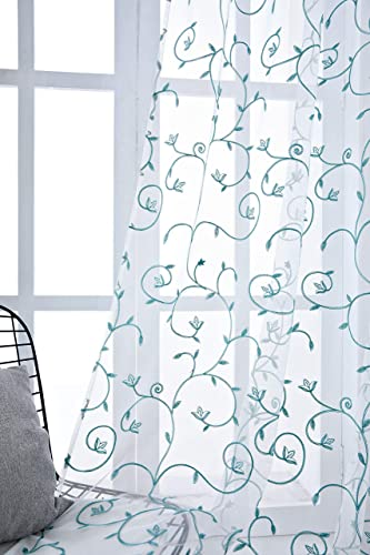 Annlaite Sheer Curtains for Bedroom Curtain Embroidered Curtains Sheer Curtains for Living Room Window Treatment Grommet Top 2 Panels 52 by 84 Inch Blue