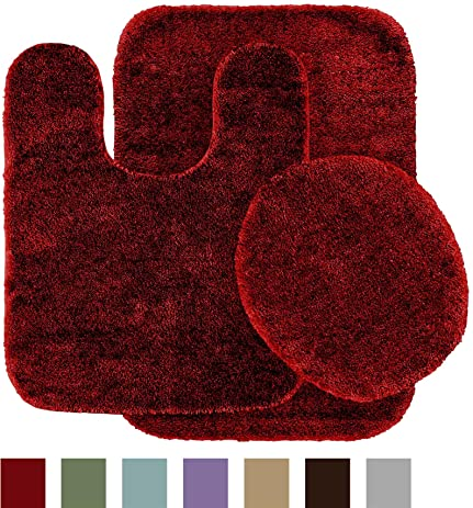 Garland Rug 3 Piece Traditional Nylon Washable Bathroom Rug Set, Chili  Pepper Red