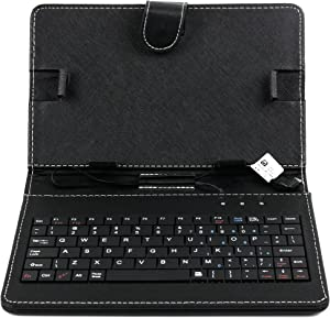 DURAGADGET Black Faux Leather Folio Micro USB QWERTY Keyboard Case with Built in Kick-Stand - Compatible with Acer Iconia One 7 B1-730, Acer Iconia Tab 8 W, Acer Iconia Talk S A1-724