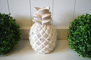 Ananas Keramik Deko Objekt Trend Skulptur Creme Antik 21cm Tischdeko Wohn Deko  Badezimmer