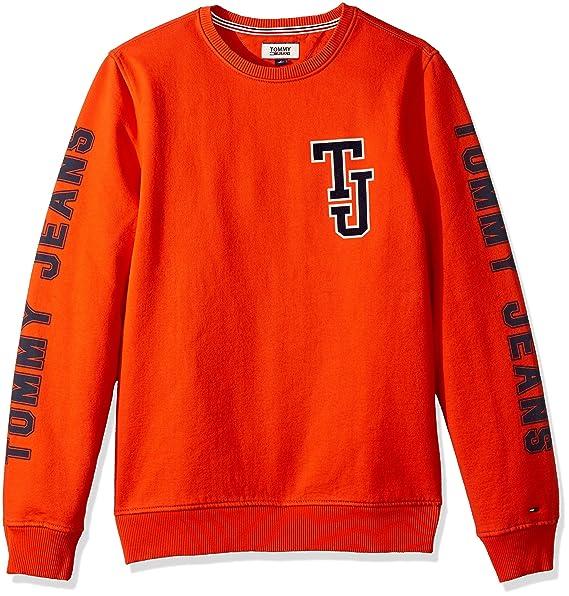 Kundschaft zuerst Bestbewertet echt großer Verkauf Tommy Jeans Men's Sweatshirt Crewneck Pullover, Spicy Orange ...