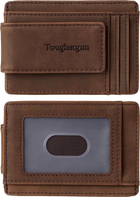 Toughergun Genuine Leather Magnetic Front Pocket Money Clip Wallet RFID Blocking(Crazy Horse Coffee)