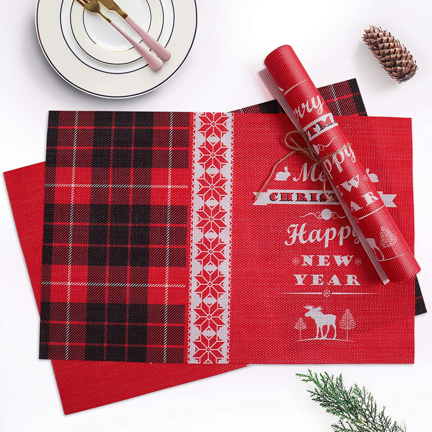Amazon Com Christmas Placemats Set Of 4 Red Black Buffalo Plaid Decorations Place Mats For Dining Table Washable Xmas New Year Kitchen Size 11 8 17 7 Inch