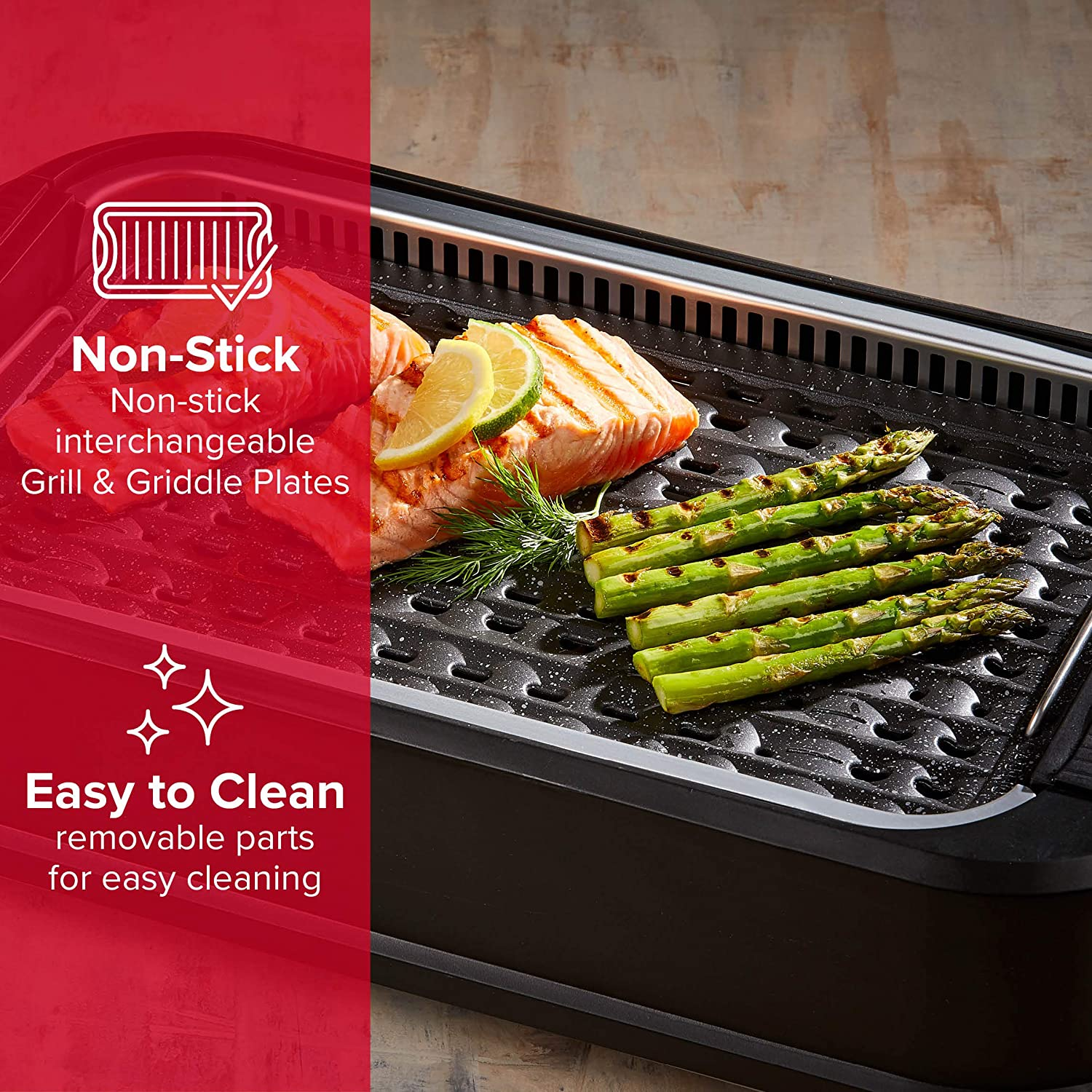 with Lid Power Smokeless Grill 1500W Indoor BBQ with Smoke Extractor Technology Adjustable Temperature Control Dishwasher Safe Non-Stick Aluminium Grill Plate