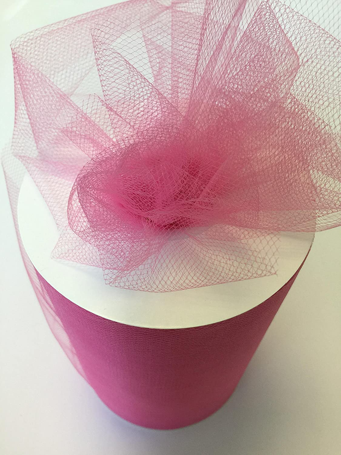 Tulle Fabric Spool/Roll 6 inch x 100 yards (300 feet), 34 Colors Available, On Sale Now! (shocking pink)