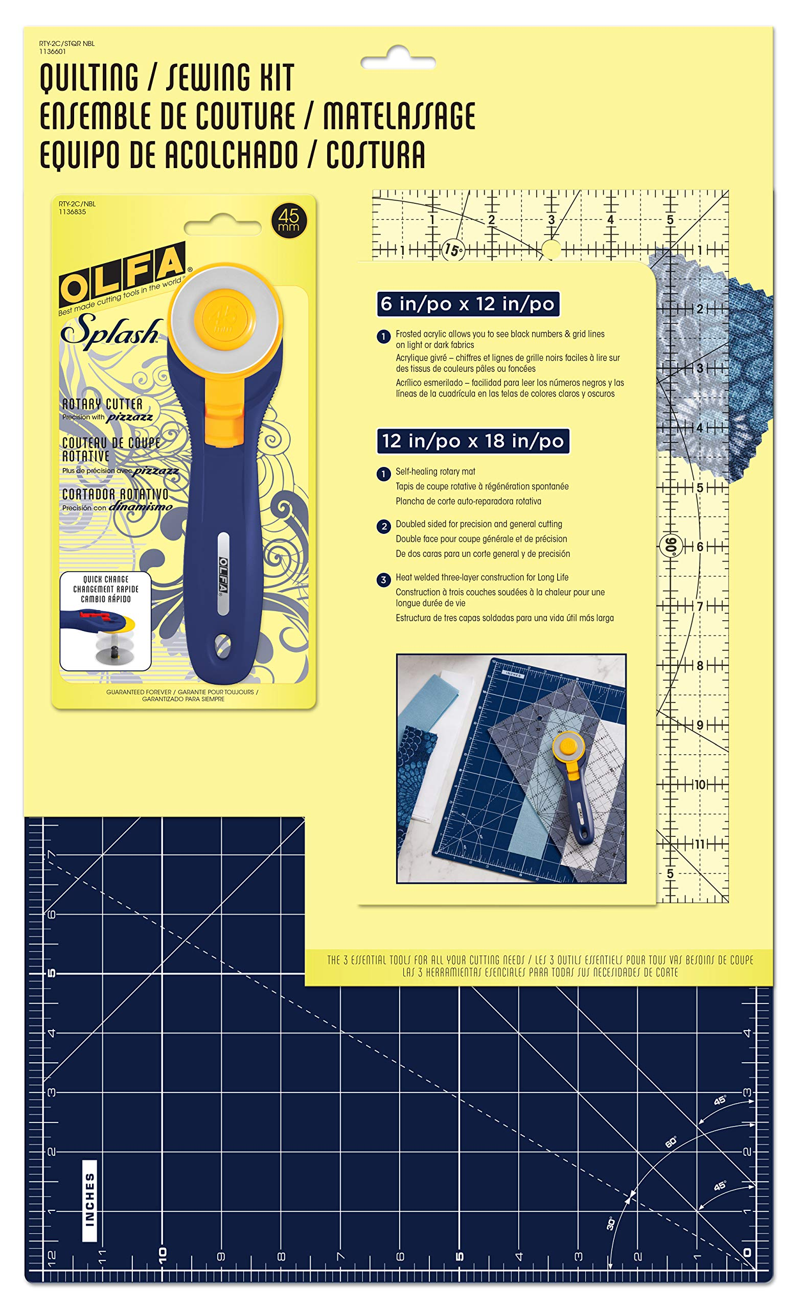 OLFA RTY-2C/STQR NBL Quilting and Sewing Kit, Navy Blue 3 Piece by OLFA