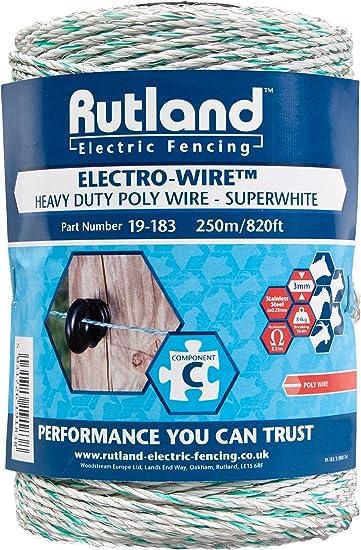 Rutland Superweißer Elektrozaun Draht, 250 m, 19-183R: Amazon.de ...