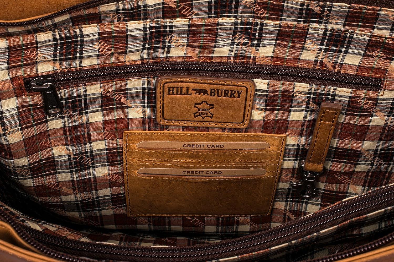 Marron Hill Burry Serviette en Cuir V/éritable Sac En cuir de Vachette de haute Qualit/é Sac /à Bandouli/ère pour professeur Business Bag Sac de Travail pour Sacoche pour Ordinateur portable