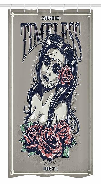 Puesto de calavera cortina de ducha por Ambesonne, día de Muertos chica con tatuajes de