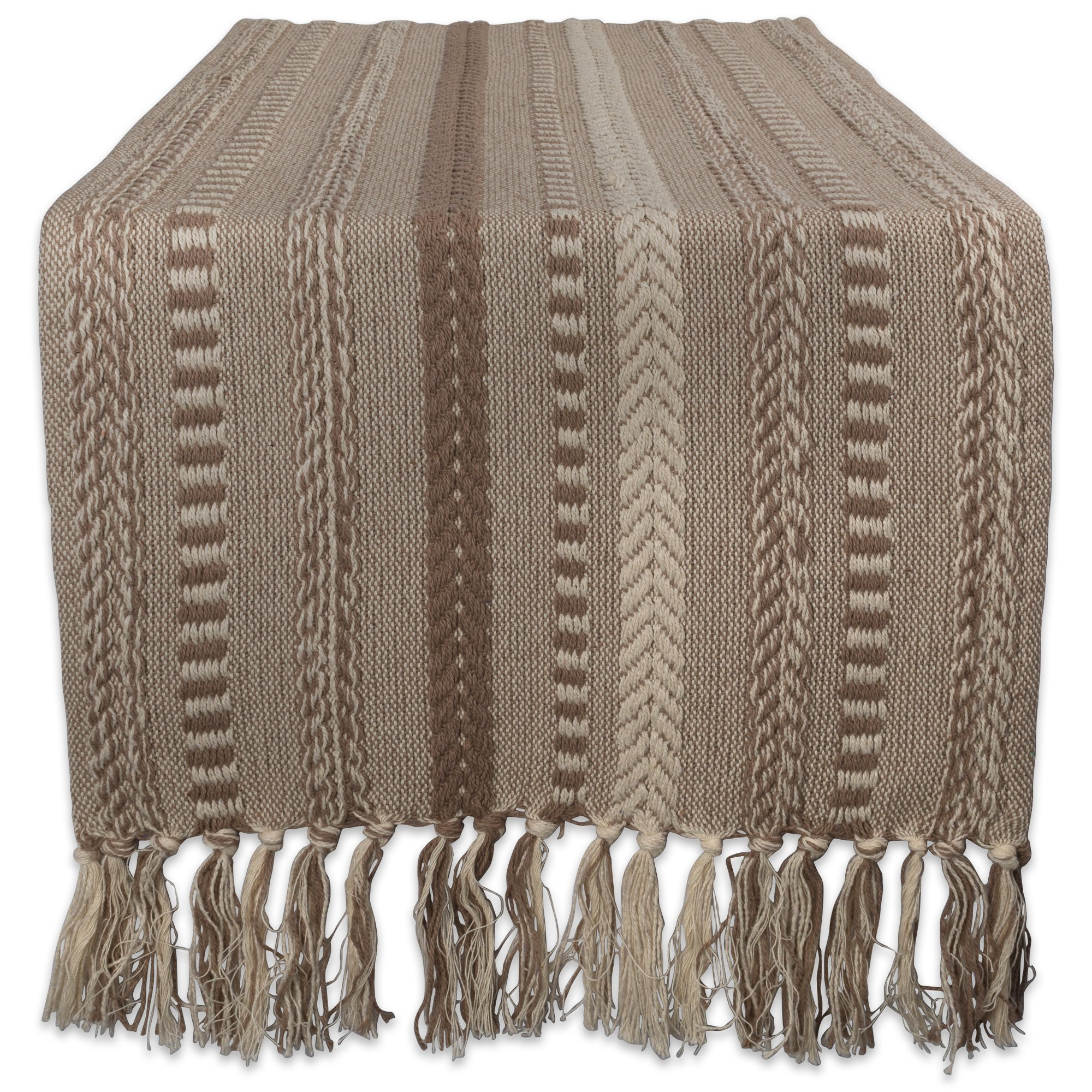 DII 15x72 Braided Cotton Table Runner, Stone Taupe - Perfect for Spring, Fall Holidays, Parties and Everyday Use