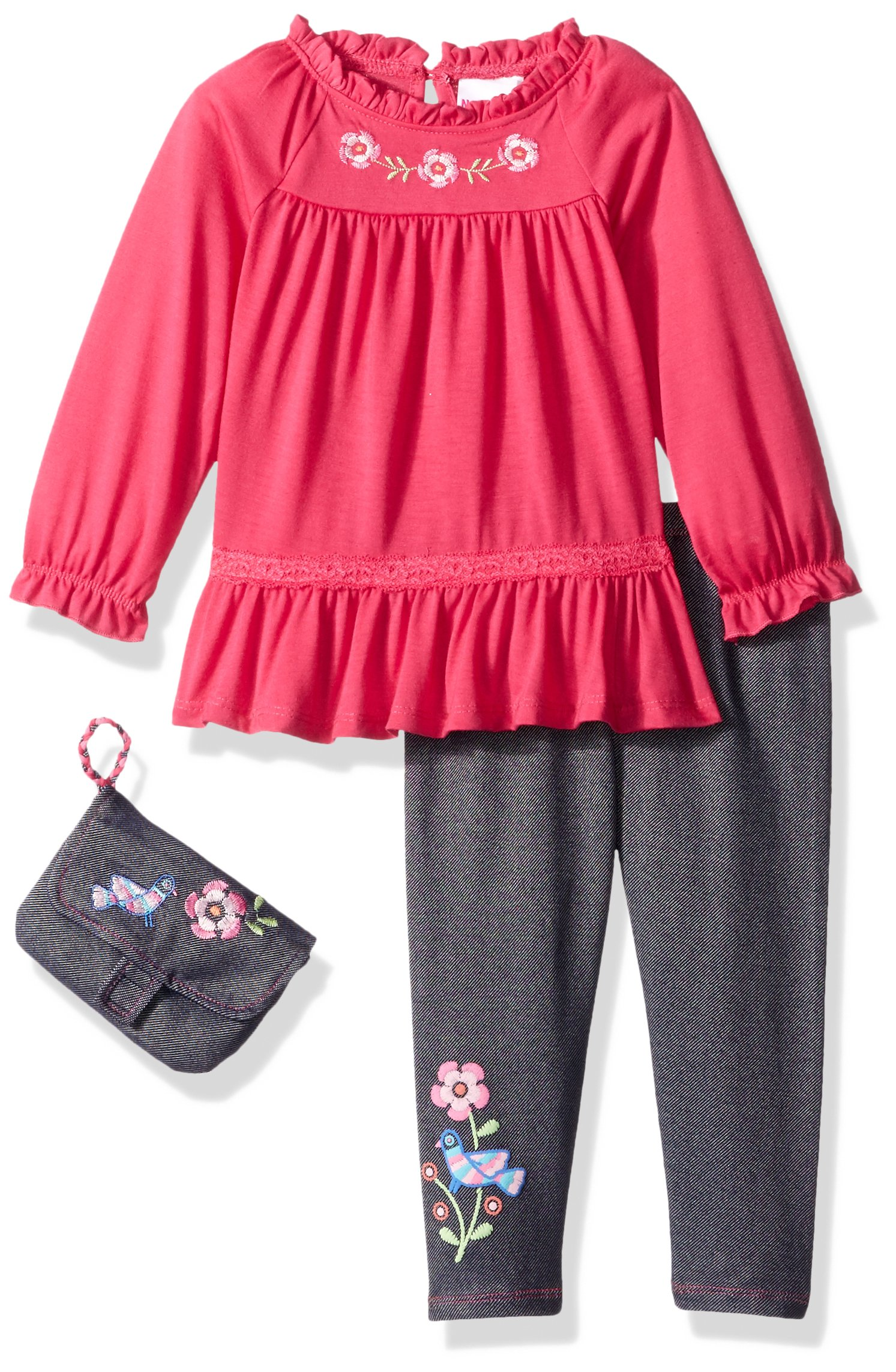 Nannette Little Girls' 2 Piece Embroidered Top and Jegging Set with Purse, Pink, 6