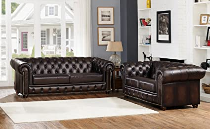 Amax Leather Albany 100% Leather Sofa And Loveseat, Brown