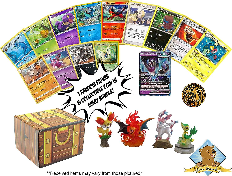 Lote de 100 Cartas de Pokemon, con 1 GX Ultra Raro, 1 Figura de Pokemon, 1 Moneda, 4 Raras, Viene en Caja Dorada de Tesoro de Groundhog.: Amazon.es: Juguetes y juegos