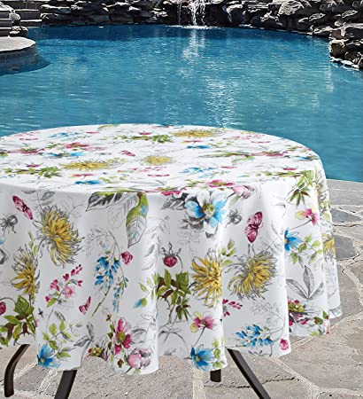 Benson Mills Blooming Floral Indoor Outdoor Spillproof Tablecloth 70 Round