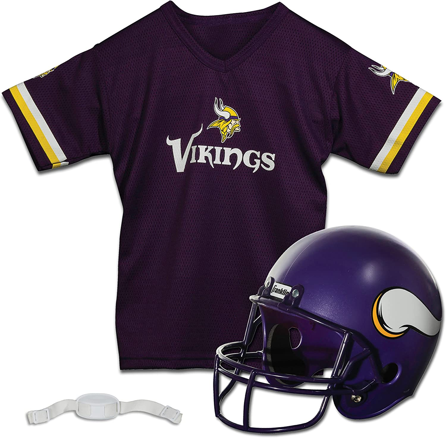 Franklin Sports Minnesota Vikings Kids Football Helmet and Jersey Set - NFL Youth Football Uniform Costume - Helmet, Jersey, Chinstrap - Youth M