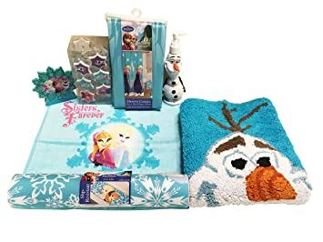 Beautiful Disney Frozen Anna, Elsa, Olaf Bathroom Accessories Bundle Of 7 Items!