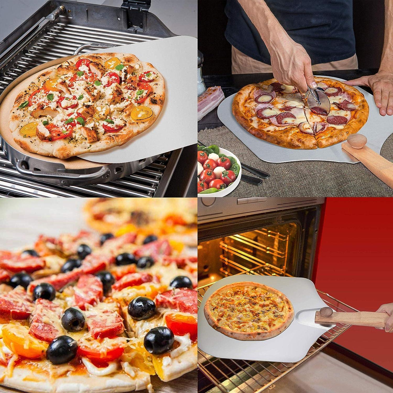 C/áscara de Pizza con Plegable Pala Pizza Pala de Aluminio para Pizza con Mango de Madera Plata