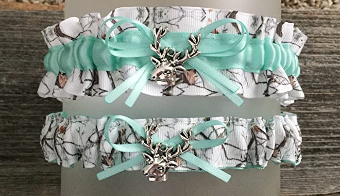 9440c05e5 Image Unavailable. Image not available for. Color  Camouflage Snow Camo  White Aqua Satin Wedding Bridal Garter SET ...