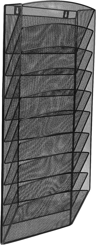 AdirOffice Steel Mesh Magazine Wall Rack - Functional Opaque Magazine Organizer - Great for Lobbies Reception Areas & More (10 Pocket, Black) (Black, 10 Pocket)