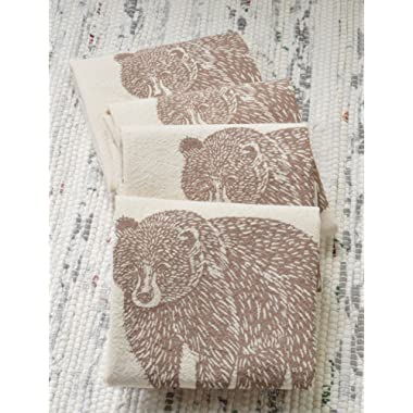 Cloth Napkins - Set of 4 - Bear Design in Mocha Brown - Organic Cotton