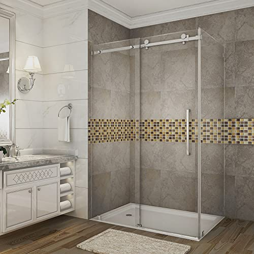 Aston Moselle 48 x 33.4375 x 75 Completely Frameless Sliding Shower Enclosure, Brushed Stainless Steel
