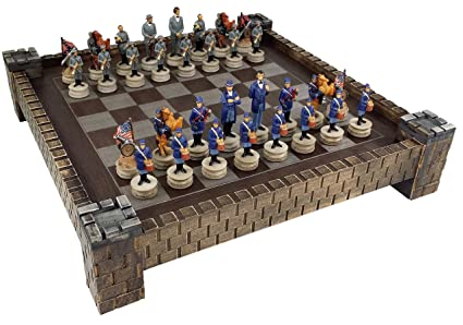 American US Civil War North Vs South Chess Set W/ 17u0026quot; CASTLE Board