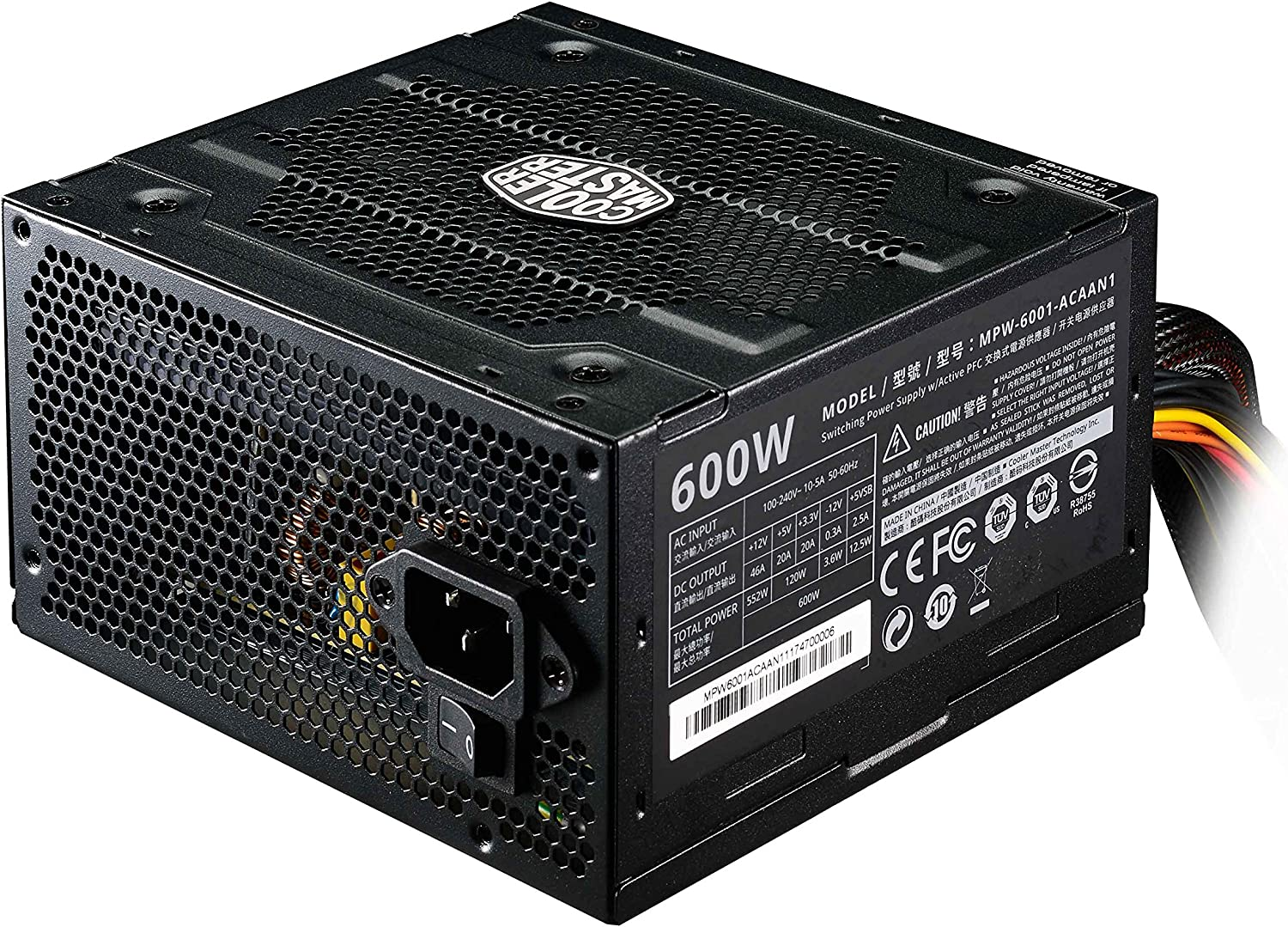 Amazon.com: Cooler Master Elite v3 600 watts ATX Power Supply, Quiet 120mm  Fan, PCI-E support, 3 Year Warranty, Black: Computers & Accessories