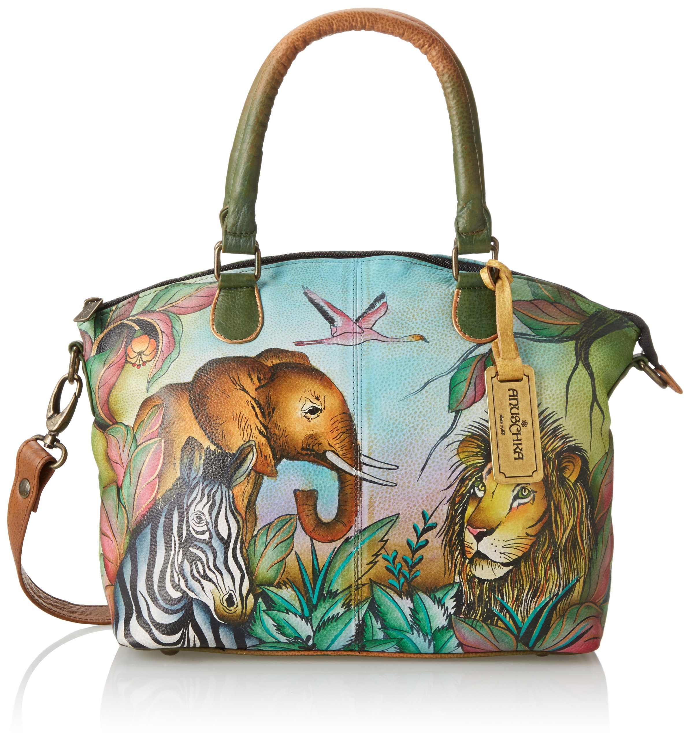 Anuschka Hand-Painted Leather Medium Convertible Satchel | Top Handle Shoulder Bag/Purse | African Adventure
