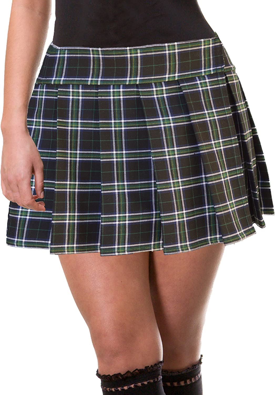 Green Brown White Blue Schoolgirl Tartan Plaid Pleated Mini Skirt Plus Hindley