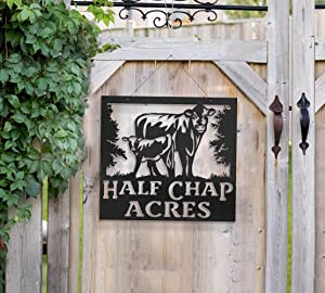 Your Name Custom Metal Cow Calf Farm Or Ranch Sign, Cow and Calf Personalized Metal Sign Wall Hanging Wall Address Plaque Room Decor Monogram Wall Art Outdoor Indoor Metal Sign 24inch