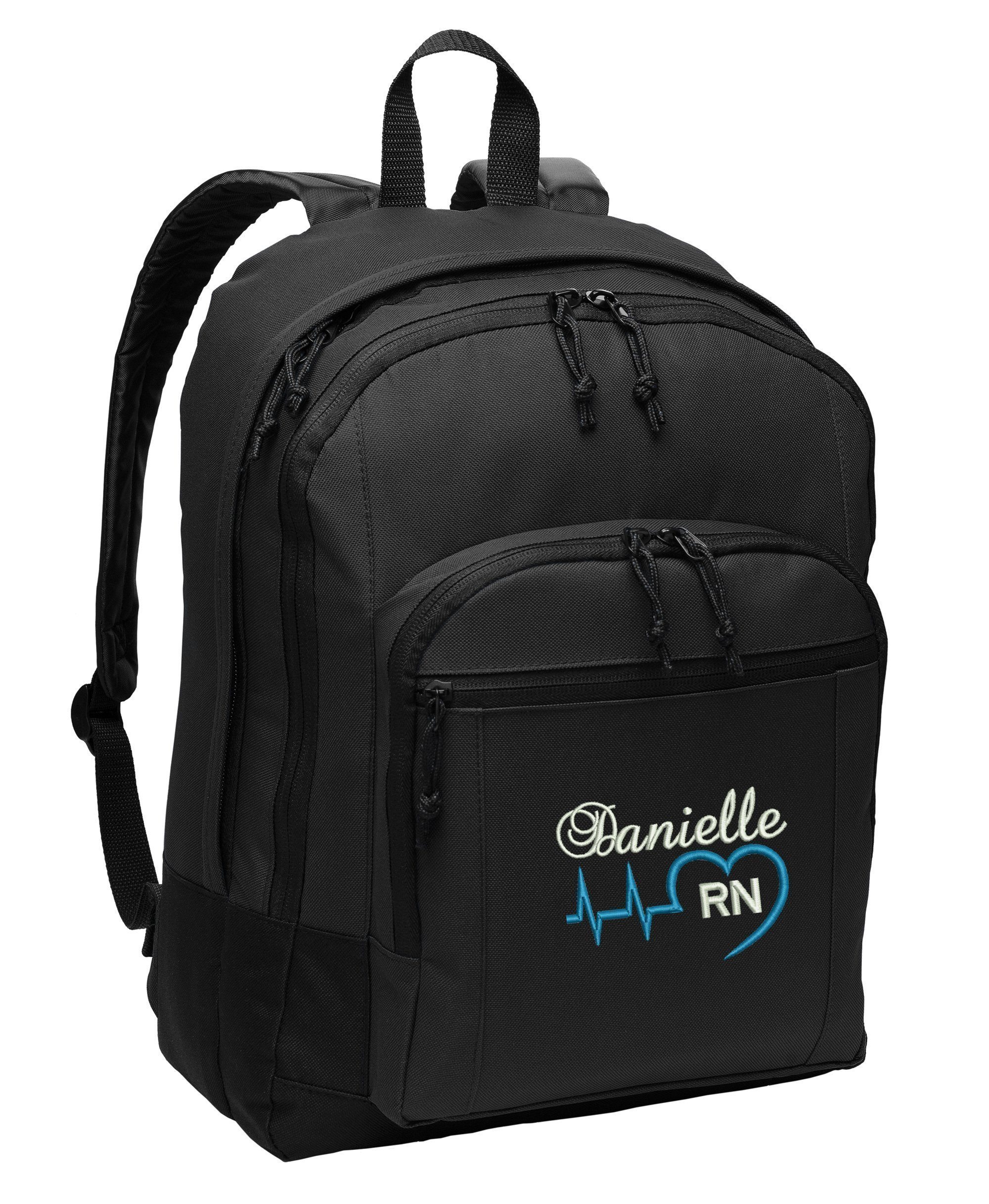 Heart Beat Nurse, RN, LPN, CNA, Medical Personnel Personalized Embroidered Back Pack