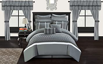 Chic Home Dinah 24 Piece Bed in a Bag Comforter Set, Queen, Grey
