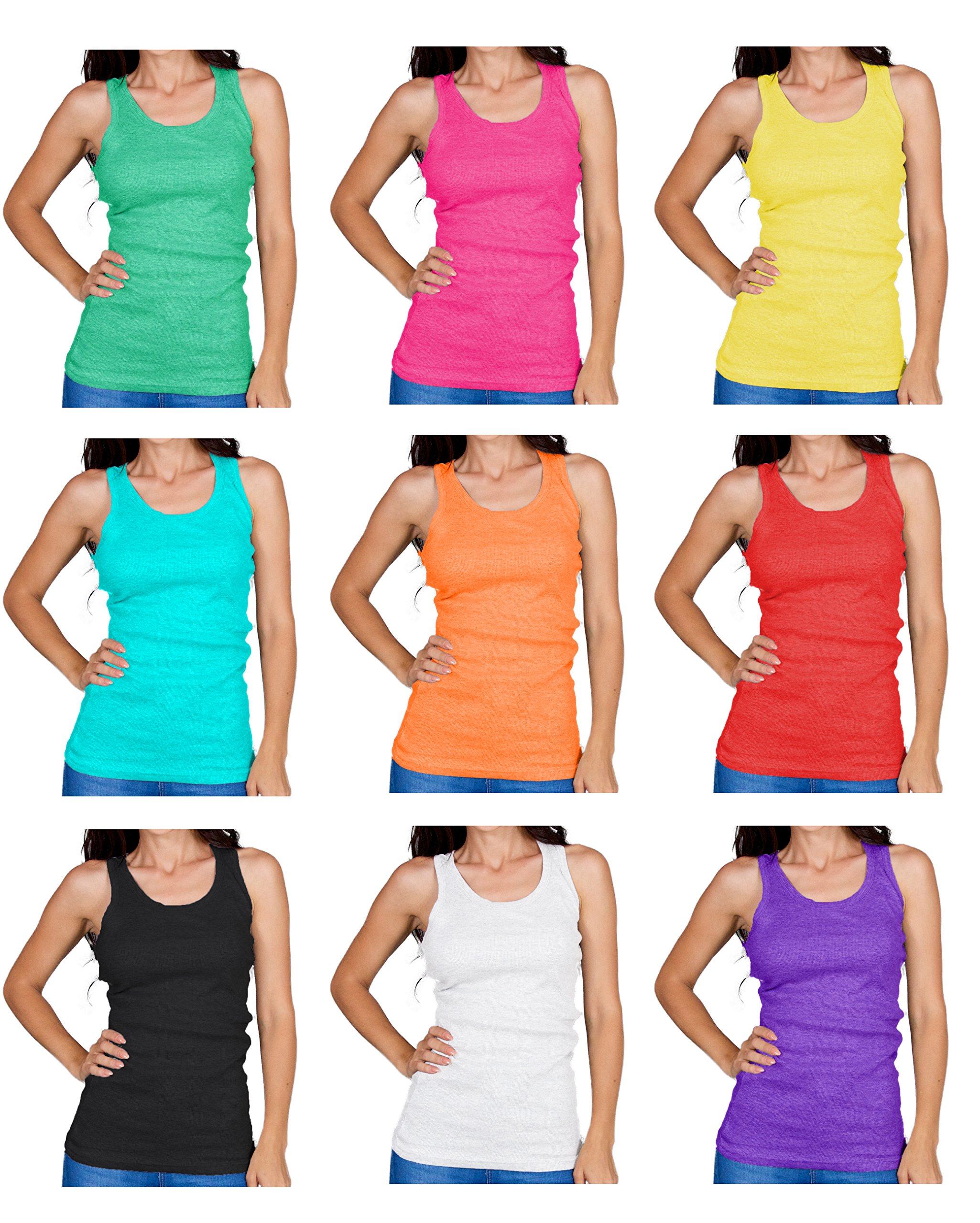 Emprella Tank Tops for Women, Basic Cotton Ribbed Racerback Tanktop (Large, Assorted) …