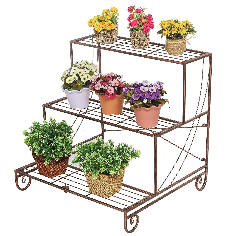 Metal Plant Stand 3 Tier Decorative Bronze Planter Holder