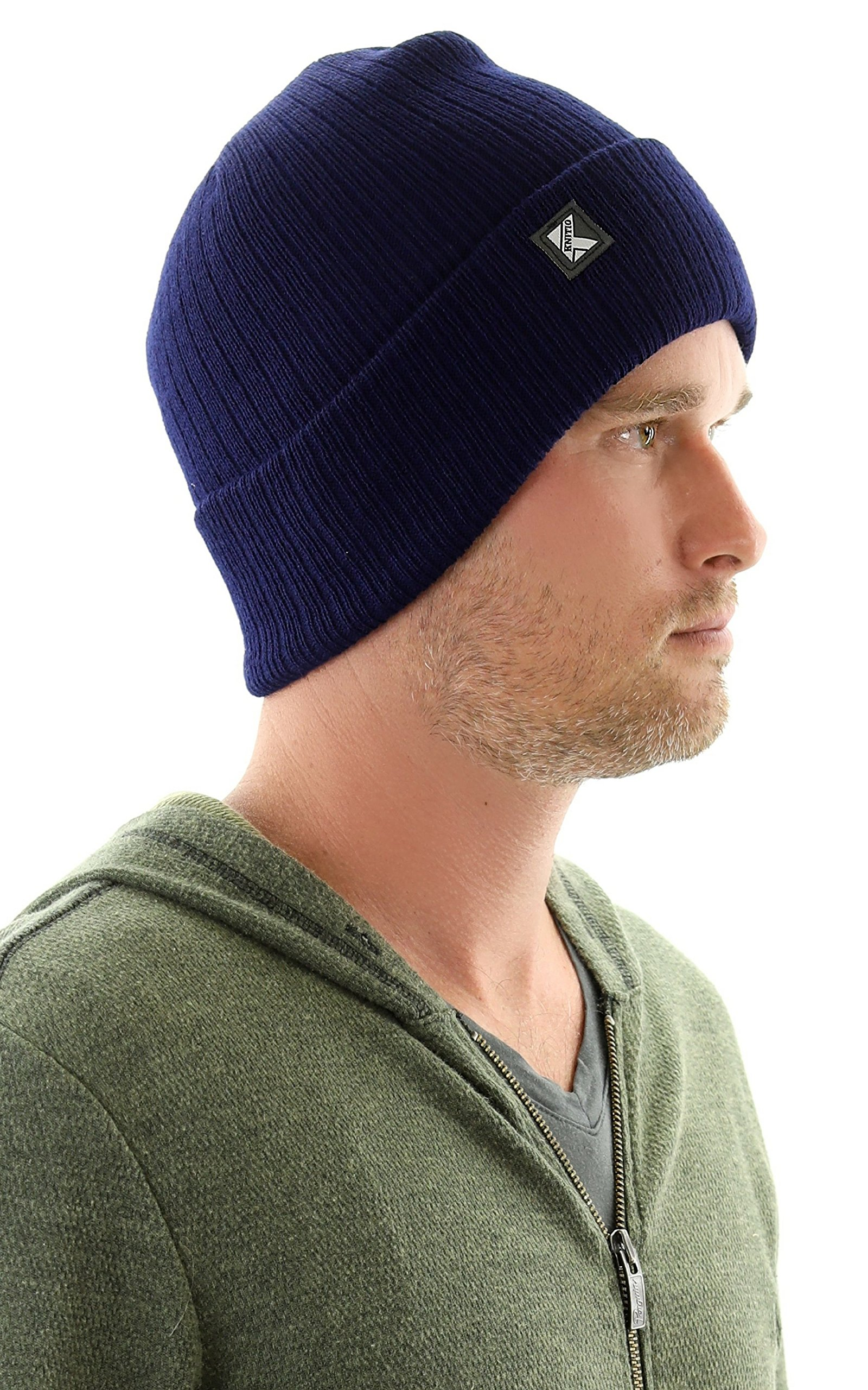 Knitio Men's Cuffed Winter Beanie With Thinsulate | Warm, Comfortable, Durable Winter Hats For Men | Navy by Knitio (Image #2)