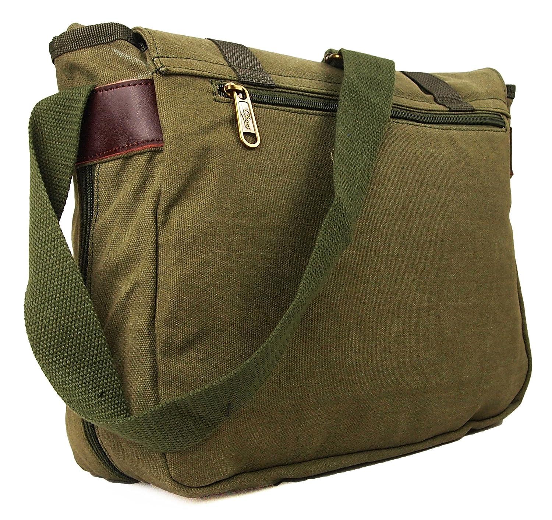 Mens Womens Boys Girls Ocello Canvas School College Work Satchel Messenger  Shoulder Bag (Black Green) (Green)  Amazon.co.uk  Luggage bd9390e8b2e1f