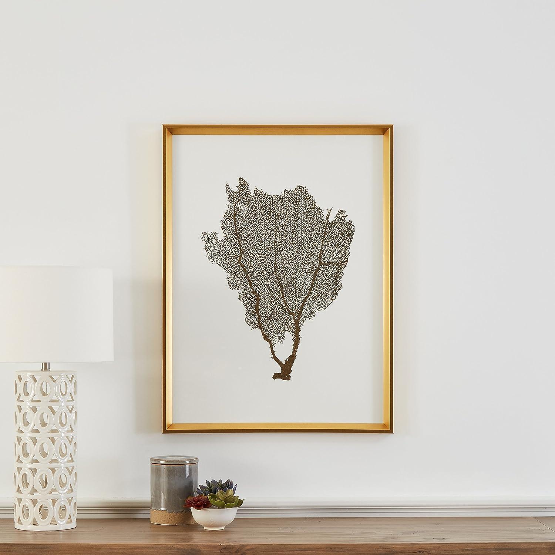 Modern gold foil sea fan print i framed wall art décor 24 x 30 inch frame gold