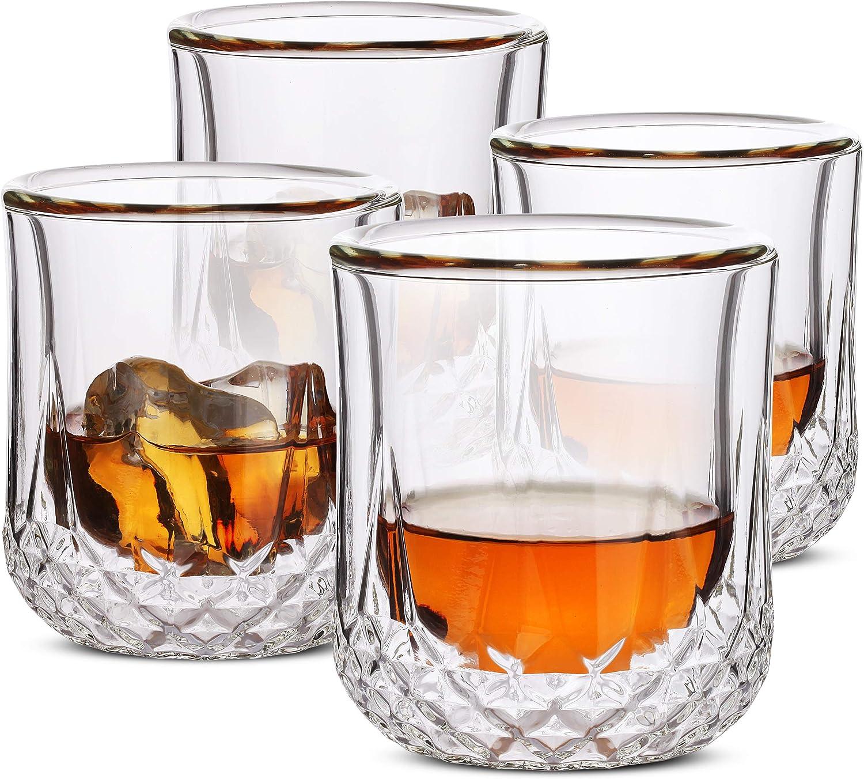 BTäT- Whiskey Glasses Double Wall, Bourbon Glasses, Set of 4, Cocktail Glasses, Scotch Glasses, Old Fashioned Glass, Rocks Glass, Crystal Glasses, Vodka Glasses, Drinking Glasses, Gifts, Gins