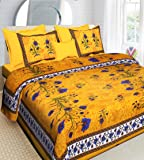 RajasthaniKart® Comfort Rajasthani Jaipuri Traditional Sanganeri Print 144 TC Cotton Double Size Bedsheet with 2 Pillow Covers - Yellow, King