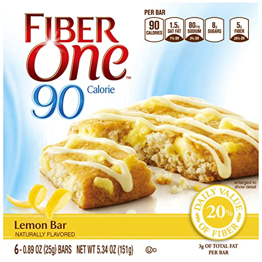 Fiber One 90 Calorie Bar, Lemon, 5.34 Ounce