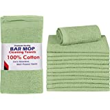 Utopia Towels 12 Pack Ribbed Bar Mops Towels, 16 x 19 Inches, 100% Cotton Ultra Absorbent Bar Towels and Cleaning Towels (Sag